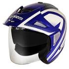 Hawk Night Relfective Dual Visor Open Face Blue and White Motorcycle Helmet