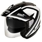Hawk Night Relfective Dual Visor Open Face Black and White Motorcycle Helmet