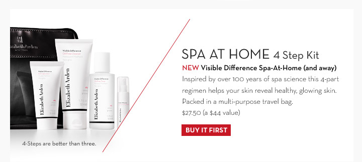 SPA AT HOME 4 Step kit. NEW Visible Difference Spa-At-Home (and away). Inspired by over 100 years of spa science this 4-part regimen helps your skin reveal  healthy, glowing skin. Packed in a multi-purpose travel bag. $27.50 (a $44 value). 4-Steps are better than three. BUY IT FIRST.