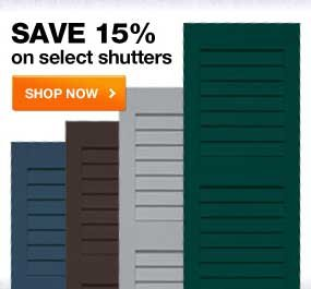 SAVE 15% on select shutters