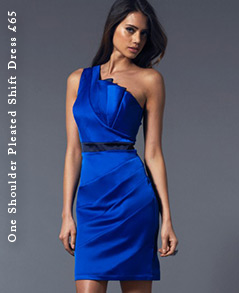 One Shoulder Pleated Shift Dress