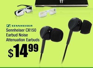Sennheiser CX150 Earbud Noise Attenuation Earbuds