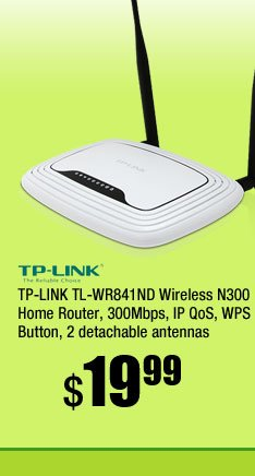 TP-LINK TL-WR841ND Wireless N300 Home Router, 300Mbps, IP QoS, WPS Button, 2 detachable antennas