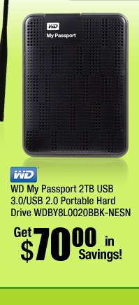 WD My Passport 2TB USB 3.0/USB 2.0 Portable Hard Drive WDBY8L0020BBK-NESN