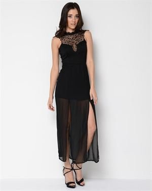 Sexy Diva Lace Neck Maxi Dress- Made in USA