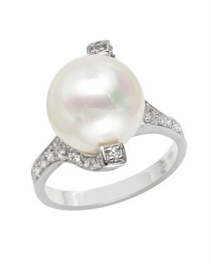 Sterling Silver Ring With Faux Pearl and Dazzling Cubic Zirconia