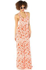 The Croquet Pattern Racer Maxi Dress in Tango Orange Pinwheel