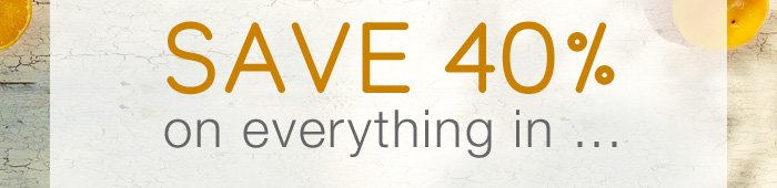 Save 40% on everything in...