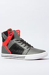 The Skytop Sneaker in Grey Leather, Red, & Black Waxed Suede