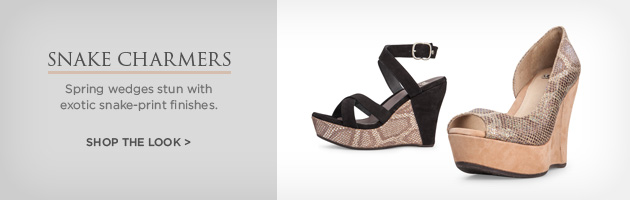 Snake Charmers - Spring wedges stun with exotic snake-print finishes. Shop the look >