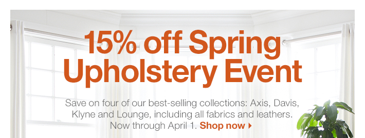 15% off Spring Upholstery Event