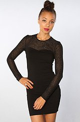 The Lee Lee Metallic Honeycomb Lace Dress in Black Silver