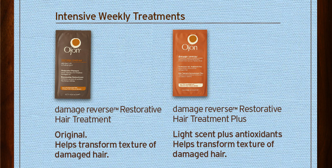 Intensive Weekly Treatments damage reverse Restorative Hair  Treatment Original Helps transform texture of damaged hair AND damage  reverse restorative Hair Treatment Plus Light scent plus antioxidants  Helps transform texture of damaged hair