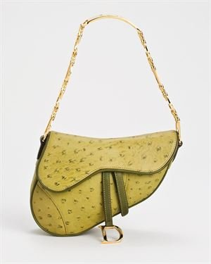 Dior LN Ostrich Embossed Genuine Leather Saddle Purse $539