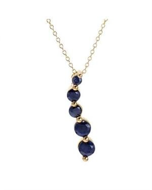 Ladies Sapphire Necklace Designed In Yellow Gold Plated Silver
