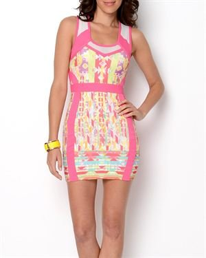 WOW Couture Graphic Print Bandage Dress