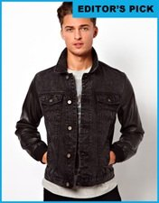 ASOS Denim Jacket With Faux Leather Sleeves