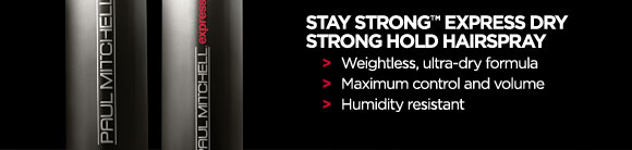 Stay Strong Express Dry Strong Hold Hairspray. Weightless, ultra-dry formula. Maximum control and volume