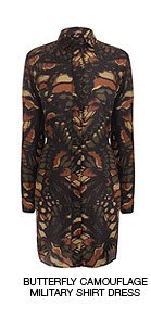 Shop The Butterfly Camouflage Military Shirt Dress