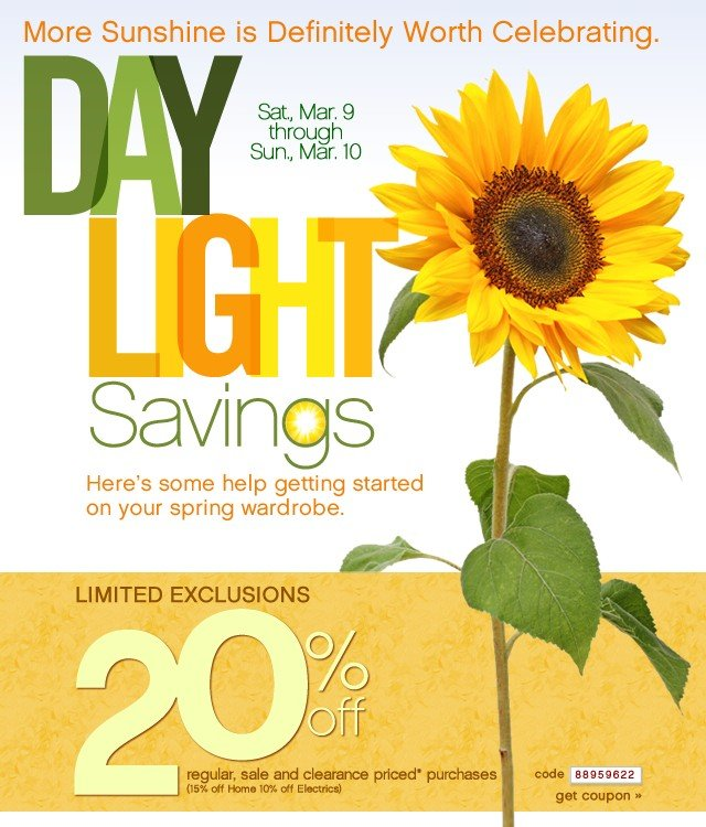 Daylight Savings. Extra 20% off. Get coupon.