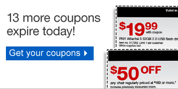 13 more  coupons expire today! Get your coupons