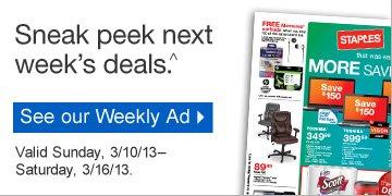 Sneak  peek next weeks deals.^ Valid Sunday, 3/10/13–Saturday, 3/16/13.  See our Weekly Ad
