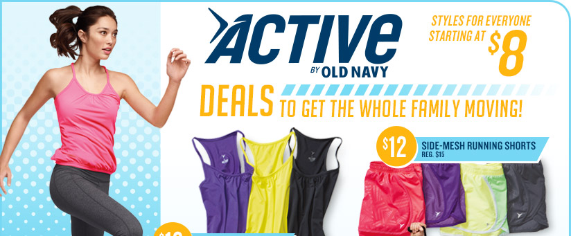 ACTIVE BY OLD NAVY | STYLES FOR EVERYONE STARTING AT $8 | DEALS TO GET THE WHOLE FAMILY MOVING! | $12 SIDE-MESH RUNNING SHORTS REG. $15