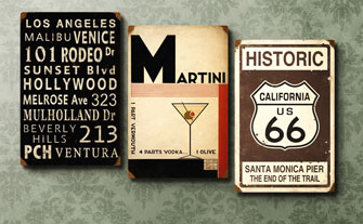 Hip Retro Metal Signs- Visit Event