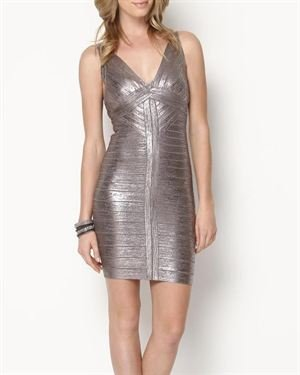 Herve Leger Trista Metallic Cutout Bandage Dress $899