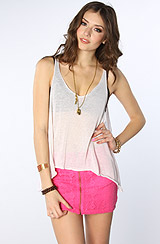 The Stone Roses Lace Zipper Skirt in Electric Pink