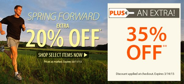 Spring Forward! An EXTRA 20% OFF select items!