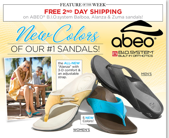 New Feature of the Week! Shop the new ABEO B.I.O.system Alanza and Zuma styles, plus new colors of our #1 Balboa sandals and enjoy FREE 2nd Day Shipping!* Exclusively available at The Walking Company, B.I.O.system sandals feature a 3-D fit for the ultimate comfort. Find the best selection when you shop now at The Walking Company.