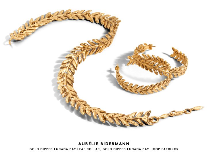 The golden touch: Shop earrings, necklaces and more from Aurélie Bidermann.
