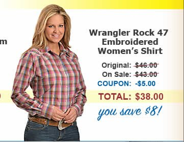 Women's Wrangler Rock 47 Embrodered Shirt, save $8
