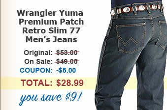 Men's Wrangler Yuma Premium Patch Retro Slim 77 Jean, save $9