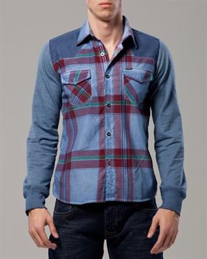 HSN Black Elbow Patch Solid Color & Multicolor Check Print Shirt