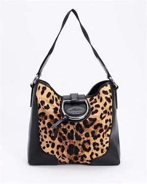 Dolce & Gabbana NWOT Black Leather & Cheetah-Print Shoulder Bag- Made in Italy