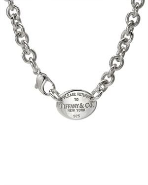 Tiffany & CO. Sterling Silver Oval Tag Necklace, 8/10 Condition