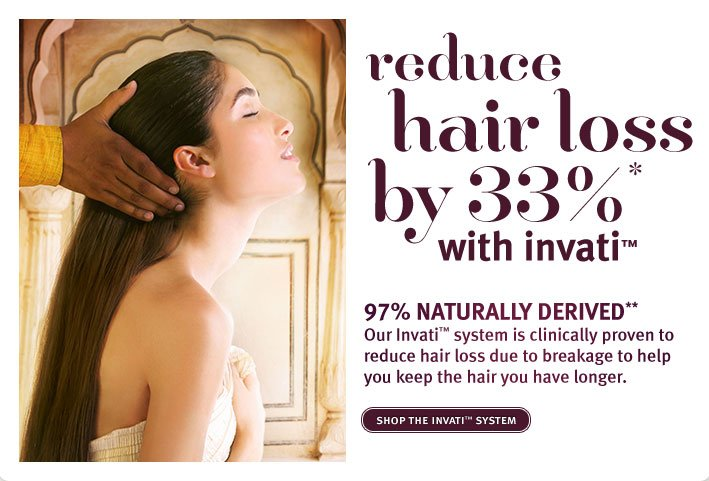 reduce hair loss by 33% with invati. shop the invati system.