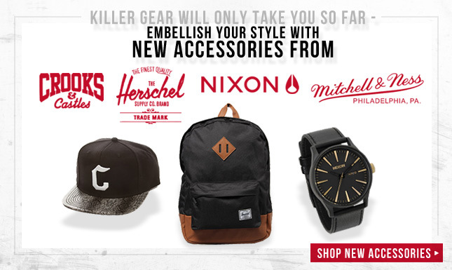 New watches from Nixon, Hats from Crooks, Bags from Herschel Supply, and lots more!
