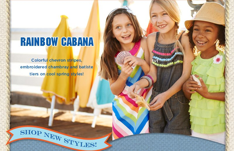 Rainbow Cabana - Colorful chevron stripes, embroidered chambray and batiste tiers on cool spring styles! Shop New Styles!