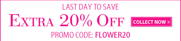 LAST DAY TO SAVE. EXTRA 20% OFF COLLECT NOW. PROMO CODE: FLOWER20