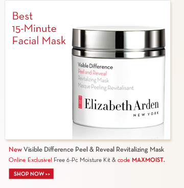 Best 15-Minute Facial Mask. New Visible Difference Peel & Reveal Revitalizing Mask. Online Exclusive! Free 6-Pc Moisture Kit & code MAXMOIST. SHOP NOW.