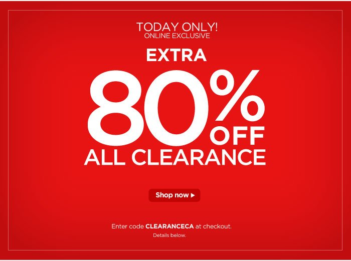 Today Only: Extra 80% off All Clearance