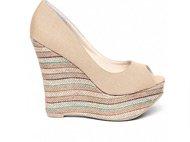 striped peeptoe platform shoe