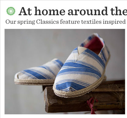 Our spring Classics feature textiles inspired by global patterns