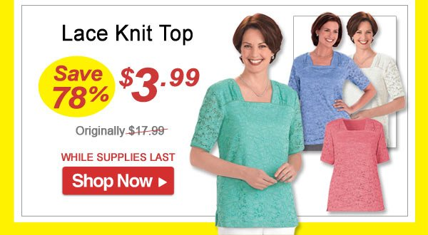 Lace Knit Top - Save 78% - Now Only $3.99 Limited Time Offer