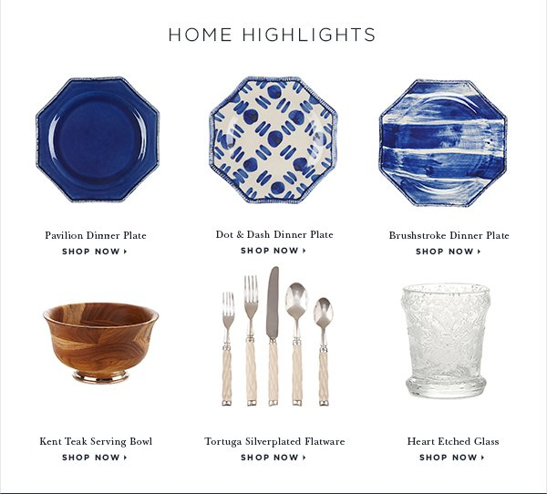 I have always been inspired by the Dominican Republic, where I am from. This collection draws inspiration from the colors and textures of the island—it is one of the most beautiful places in the world.  Oscar de la Renta HOME HIGHLIGHTS Pavilion Dinner Plate SHOP NOW > Dot & Dash Dinner Plate SHOP NOW > Brushstroke Dinner Plate SHOP NOW > Kent Teak Serving Bowl SHOP NOW > Tortuga Silverplated Flatware SHOP NOW > Heart Etched Glass SHOP NOW >