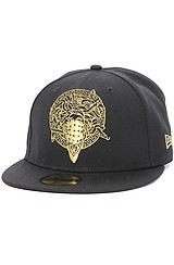 The Bandusa Fitted Hat in Black and Gold
