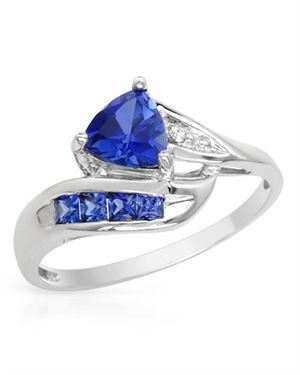 Ladies Sapphire Ring Designed In 10K White Gold $109
